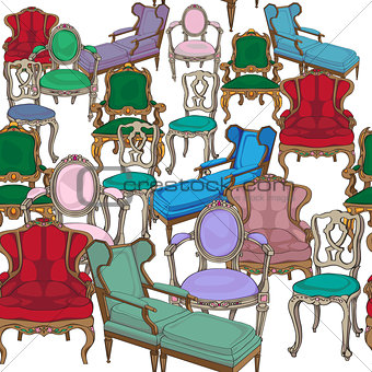 antique chairs pattern