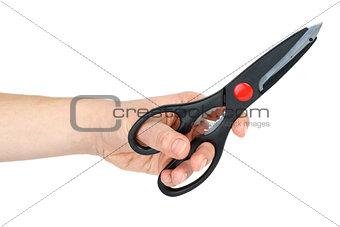 Kitchen scissors in hand