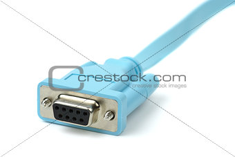 Blue cable with DB9 connector (RS232/COM interface)