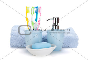 Toothbrushes, soap and towel