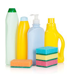 Plastic bottles of cleaning products and sponges