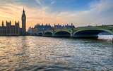 Big Ben and Westminster Bridge in london at sunset