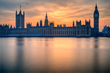 Big Ben and Houses of Parliament London during Winter sunset.