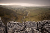 Limestone pavement overlooking Malham Beck and Dale in Yorkshire