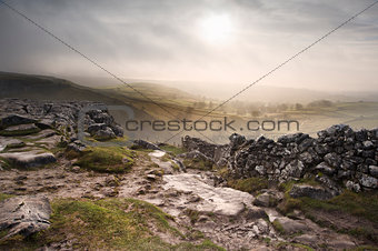 Sunrise over Malham Dale in Yorkshire Dales National Park