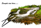 Creative concept image of paint brushes painting waterfall lands