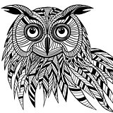 Owl bird head as halloween symbol for mascot or emblem design, s