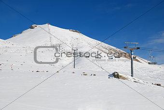 Skis and mountain panorama