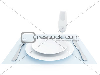 Clean plate, fork, knife and a glass for a dinner
