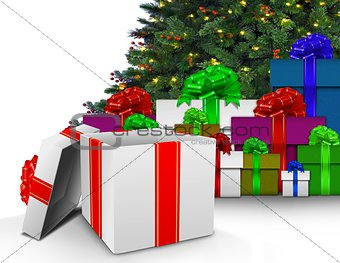Christmas presents by tree