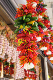 Colorful Hot Chili Peppers and Garlic Bunches