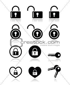 Padlock, key vector icons set