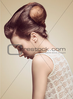 portrait of girl with fashion hair-style