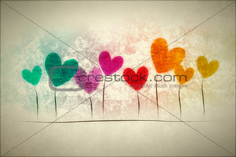 grunge background hearts