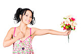 Romantic woman giving flower bouquet. Thank you
