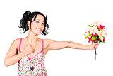 Romantic woman giving flower bouquet. Thank you