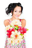 Woman with flower arrangement. Valentine's day gift
