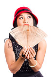 Fan of Asia. Stylish Chinese lady with oriental fan