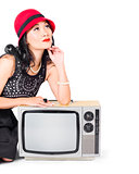 Woman on retro TV. Fifties copyspace broadcast
