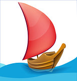 Romantic red sail boat