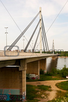 Brige of Liberty crossing the Dunabe river in Novi Sad, Vojvodin