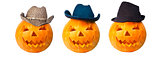Three cowboy pumpkins