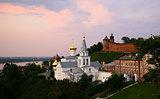 Evening view Church of Elijah the Prophet and Kremlin Nizhny Nov