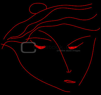 Abstract portrait of a woman on a black background