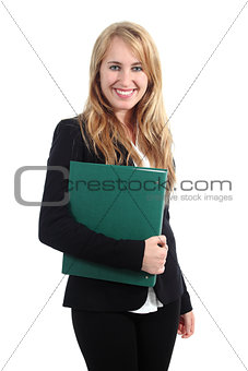 Beautiful businesswoman posing and holding a folder