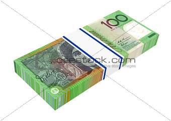 Australian dollars money isolated on white background.
