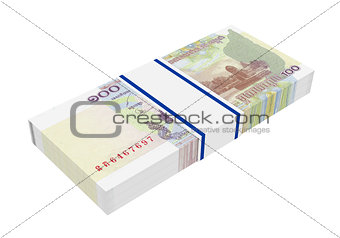 Cambodian money isolated on white background.