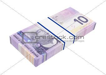 Canadian money isolated on white background.