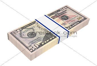 Dollars money isolated on white background.