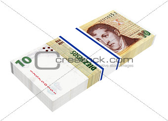 Argentina money isolated on white background.