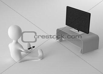3d guy watch tv