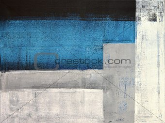 Grey and Teal Abstract Art Painting