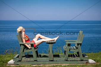 Girl sitting on the bench