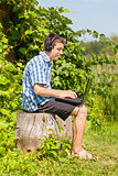 Boy with headphones, Mic and PC