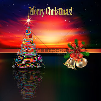 Abstract Christmas greeting with hand bells