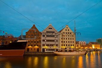 Central Maritime Museum in Gdansk at night