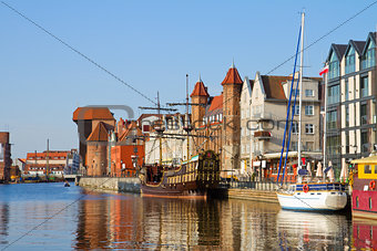 Old town waterfront over Motlawa, Gdansk
