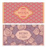 Set of card in retro style
