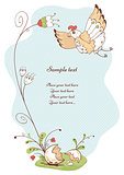 spring card with bird and flowers