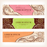 set of floral retro banners
