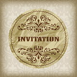 vector vintage invitation card on seamless  attern