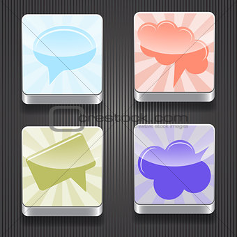 4 Vector  Shiny Icons with Speech Bubbles
