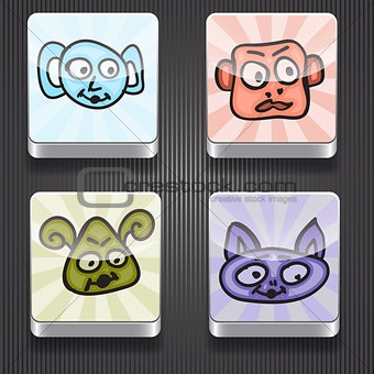 4 Vector  Shiny Icons with Funny Monsters