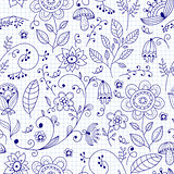 Vector Seamless Floral Summer Doodle Pattern