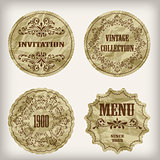 Vector Vintage Golden Labels