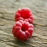 Fresh Ripe Sweet Raspberry on Wooden Background